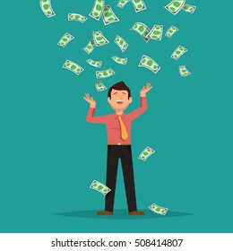 Vector illustration of happy businessman celebrates success standing under money rain banknotes cash falling on blue background. Concept of success, achievement, wealth flat style
