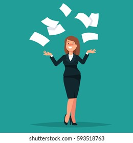 Vector illustration of happy businesswoman celebrates success throws in the air of office paper on blue background. Concept of success, achievement flat style