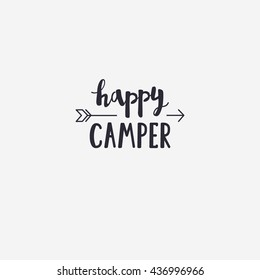 Vector illustration happy CAMPER lettering with arrow. Outdoor logo emblem