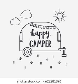 Vector illustration Happy CAMPER lettering with travel trailer. Outdoor logo emblem