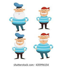 Vector illustration of happy captain and sailor characters in striped shirts isolated on white. Adorable men with beard and mustache in singlets and hat.