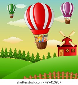 Vector illustration of Happy cartoon kids flying in a hot air balloon in the farm