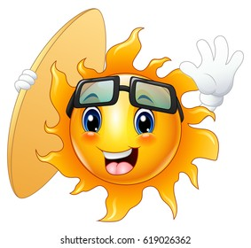vector illustration of Happy cartoon sun character with surfboard