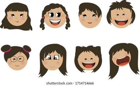 Vector illustration of happy and cheerful Asian girls with dark hair cartoon faces on white background