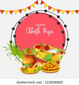 Vector illustration of Happy Chhath Puja Holiday Background for Sun Festival for Womens of Bihar India.