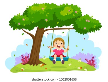 Vector illustration of happy child girl laughing and swinging on a swing under the tree