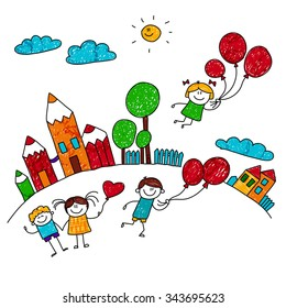 Vector illustration of happy children playing wiht balloons at school yard. Kids drawing style