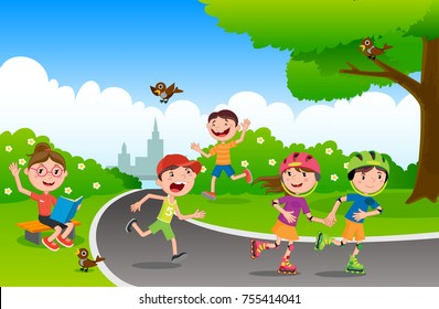 Vector illustration of happy children playing in playground. Children play in the park. Set kids of summer Park. Vector illustration.