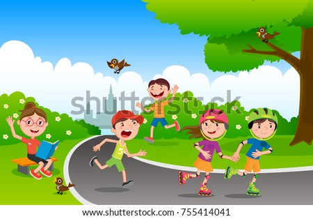 e700bf235 Vector illustration of happy children playing in playground. Children play  in the park. Set