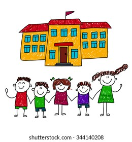 Vector illustration of happy children at school yard. Kids drawing