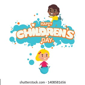Vector illustration. Happy Children's day handwritten lettering.  Happy Children's day typography vector design for greeting cards and poster. Design template celebration.
