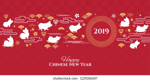 vector illustration. happy Chinese New Year 2019. Year of the pig in the Chinese calendar. design graphics for the decoration of flyers, booklets, cards, gift certificates