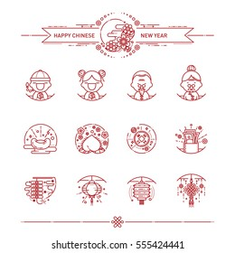 Vector Illustration of Happy Chinese New Year Icons Set. Modern Linear Style.