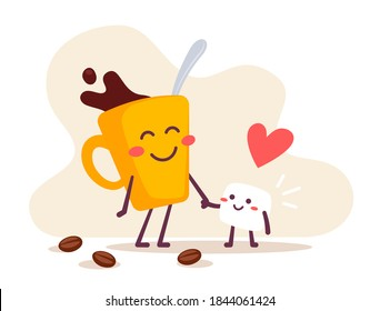 Vector illustration of a happy coffee cup with a piece of sugar on white background