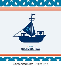 Vector illustration Happy Columbus Day. Flat style