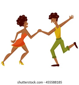 vector illustration of a happy couple dancing salsa