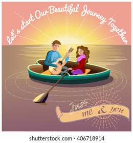 A vector illustration of happy couple playing guitar together and swimming in a boat. journey on the sea. dating loving couple in a boat. Couple in love card.  vector illustration