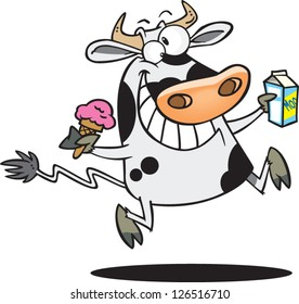 Vector illustration of happy cow holding milk and ice cream cone