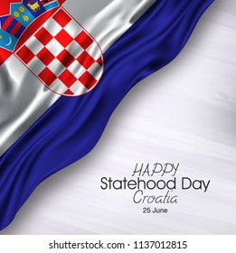 Vector illustration of Happy Croatia Statehood Day 25 June. Flag isolated on gray background.