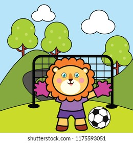vector illustration of a happy cute animals activity, lion playing football on the field, sport drawing concept for children and kids learning supplies