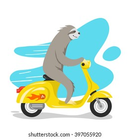 Vector illustration of happy cute sloth riding on scooter. Retro style transport, vintage looking moped. Vector print for t-shirt or poster design.
