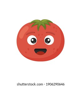 Vector illustration. Happy cute tomato for kids in cartoon style isolated on white background. Funny character vegetable.