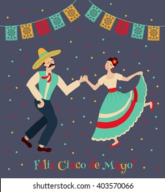 vector illustration of happy dancing  couple, celebrating Cinco de Mayo. Feliz Cinco de Mayo text is translated as Happy Fifth of May.