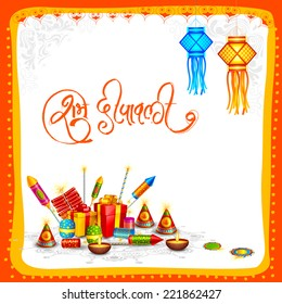 vector illustration of Happy Diwali card with firecracker
