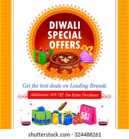 vector illustration of Happy Diwali holiday offer