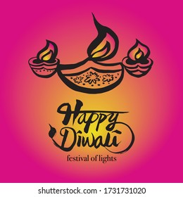 Vector illustration of Happy Diwali with lamp, festival of lights.