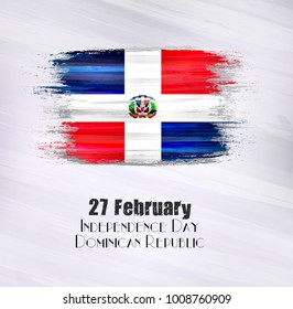 Vector illustration of Happy Dominican Republic Independence day 27 February. Old grunge flag isolated on gray background.