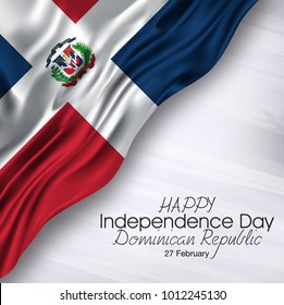 Vector illustration of  Happy Dominican Republic Independence Day 27 Februay. Waving flags isolated on gray background.