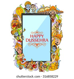 vector illustration of Happy Dussehra doodle drawing for mobile application