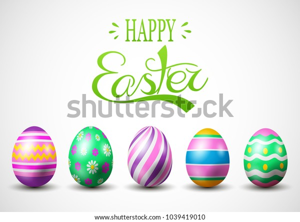 vector illustration of Happy Easter.Set of Easter eggs with different texture on a white background.