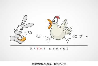 vector illustration of Happy Easter greeting with funny little bunny that is being chased by a big hen who wants her eggs back