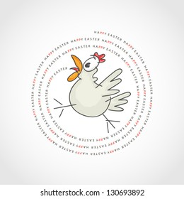 vector illustration of Happy Easter greeting with a chicken tweet