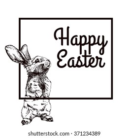 Vector Illustration of Happy Easter Hand Drawn Set for Design, Website, Background, Banner. Ink Rabbit, egg, willow and cake Holiday Element Template