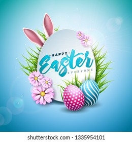 Vector Illustration of Happy Easter Holiday with Painted Egg, Rabbit Ears and Spring Flower on Shiny Blue Background. International Celebration Design with Typography for Greeting Card, Party