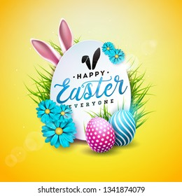 Vector Illustration of Happy Easter Holiday with Painted Egg, Rabbit Ears and Spring Flower on Shiny Yellow Background. International Celebration Design with Typography for Greeting Card, Party