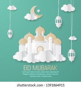 Vector illustration of Happy Eid Mubarak greeting banner, card design with mosque, lantern, moon, cloud, and star paper art and digital craft style