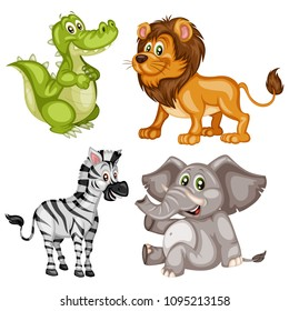 Vector Illustration of a Happy Elephant, Zebra, Lion and Alligator. Cute Cartoon Wild Animals Isolated on a White Background. Happy Animals Set