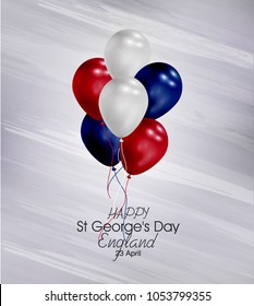 Vector illustration of  Happy England St George's Day 23 April. Balloons with flags isolated on gray background.
