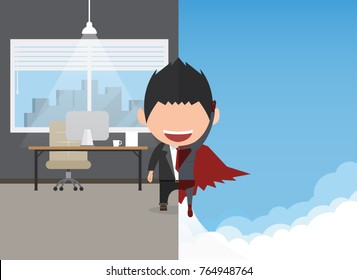 Vector illustration of a happy face businessman. a concept of balancing personal life between office and hero.