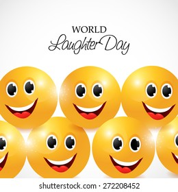 Vector illustration of a happy face for World Laughter Day in gray background.