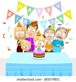 Vector illustration of happy family celebrating birthday. Family members including mother, father, grandmother, grandfather, daughter and son. Isolated on white background with flags and confetti