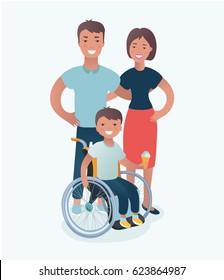 Vector illustration of happy family with disabled children concept in isolated on white background. Father, mother and son in wheelchairs standing together.
