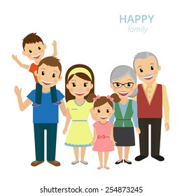 Vector illustration of happy family. Flat illustration of smiling dad, mom, grandparents and two kids isolated on white. Married couple of characters with little child and old grandparents are family