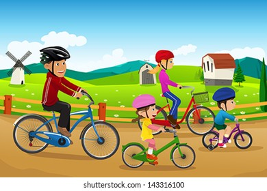 A vector illustration of happy family going biking together in a countryside rural area