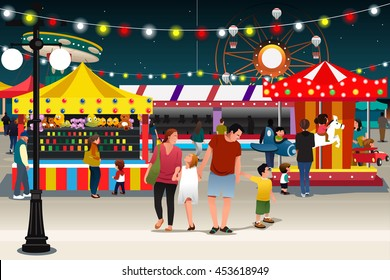 A vector illustration of happy family going to night market together