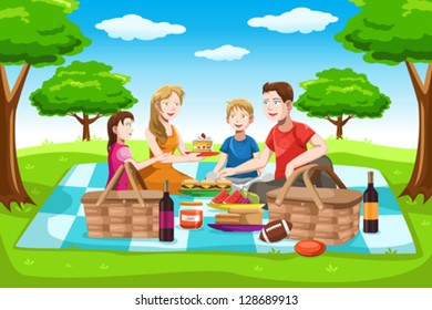 A vector illustration of a happy family having a picnic in the park